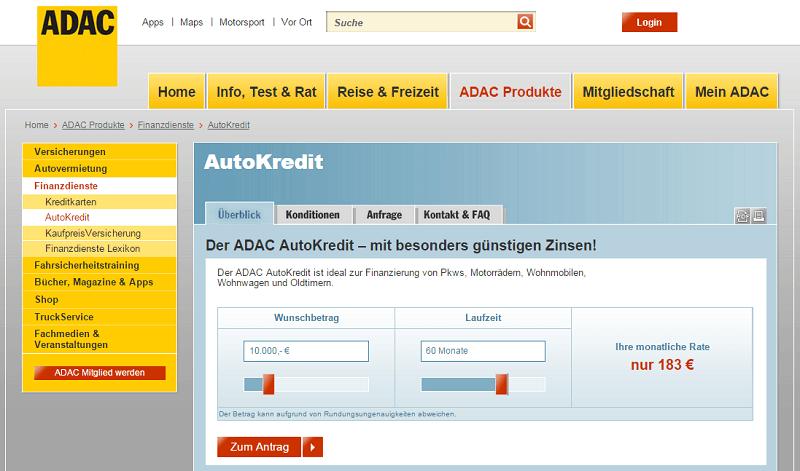 ADAC Autokredit - Einfache Antragsstrecke