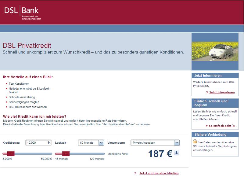 DSL Bank - Einfache Antragsstrecke