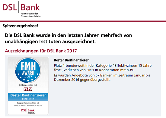 Beurteilungen - DSL Bank
