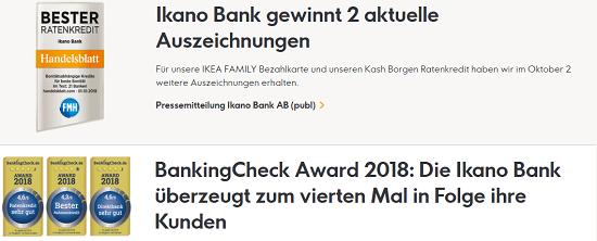 """Ikano Bank Ratenkredit – Erfahrungen – Der Ikano Bank Ratenkredit trägt das Siegel """"Kredit mit Verantwortung"""" und wurde in der Vergangenheit bereits mehrfach ausgezeichnet. In 2018 z.B. von BankingCheck.de sowie dem Handelsblatt in Zusammenarbeit mit der FMH Finanzberatung."""
