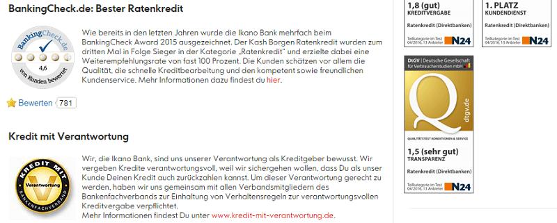 """Ikano Bank Ratenkredit – Erfahrungen – Der Ikano Bank Ratenkredit trägt das Siegel """"Kredit mit Verantwortung"""" und wurde in der Vergangenheit bereits mehrfach ausgezeichnet, so z.B. von BankingCheck.de und N24 in Zusammenarbeit mit der deutschen Gesellschaft für Verbraucherstudien."""