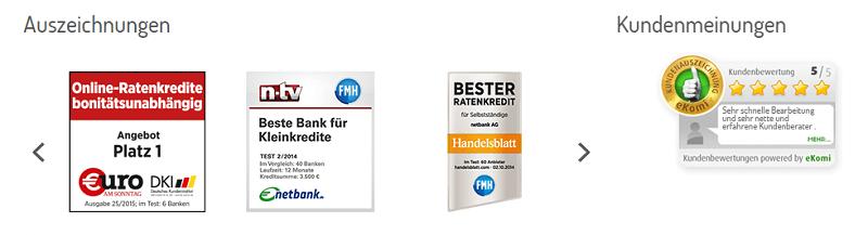 Beurteilungen - netbank Ratenkredit - Die netbank war 2018 Sieger des BankingCheck Awards in der Kategorie der Ratenkredite. Die ausgezeichnete Gesamt-Bewertung auf dem Bewertungs-Portal ekomi.de spiegelt eine sehr hohe Kundenzufriedenheit wieder.