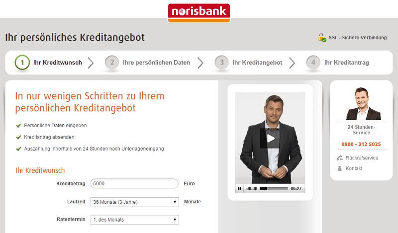 norisbank Festpreis Kredit - Einfache Antragsstrecke