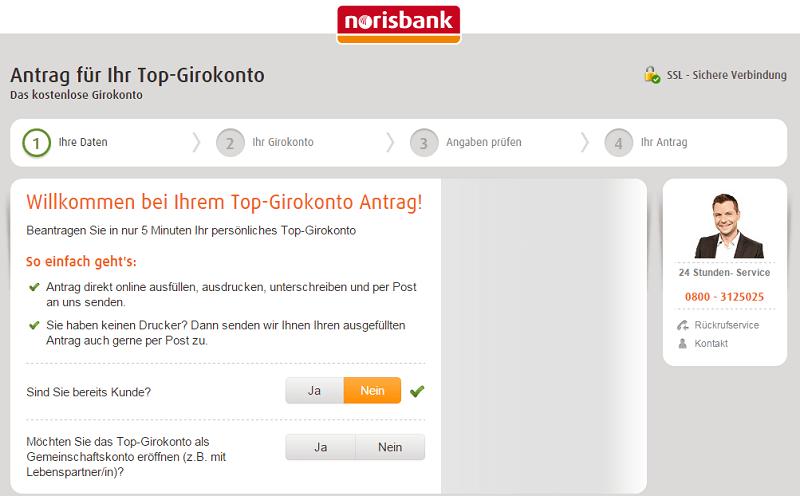 norisbank Top Girokonto - Einfache Antragsstrecke