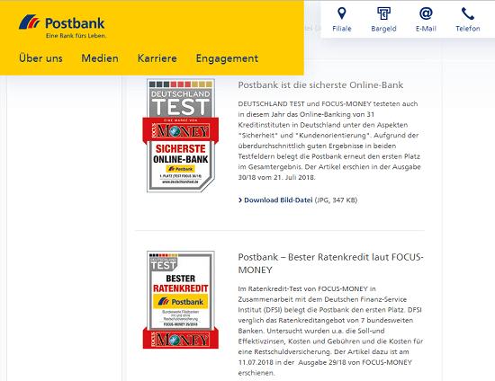 """Beurteilungen für die Postbank - Die Postbank überzeugt nicht nur Kunden sondern auch diverse Testinstitutionen. Der Privatkredit der Postbank wurde z.B. 2018, von Focus Money und dem DFSI als """"Bester Ratenkredit"""" ausgezeichnet (Ausgabe 30/2018)."""
