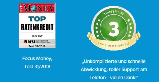 """SKG Bank PrivatKredit – Bewertungen und Auszeichnungen – Die SKG Bank trägt das Siegel """"Kredit mit Verantwortung"""" und überzeugt zudem anhand zahlreicher positiver Kundenbewertungen und Auszeichnungen namhafter Testinstitutionen. Hier wären zum Beispiel die Auszeichnung """"Top Ratenkredit"""", in einem Test von Focus Money und dem Deutschen Finanz-Service Institut DFSI in 2018, oder die Bestplatzierung in der Kategorie der Konsumentenkredite beim ibi Websiterating 2016, zu nennen."""
