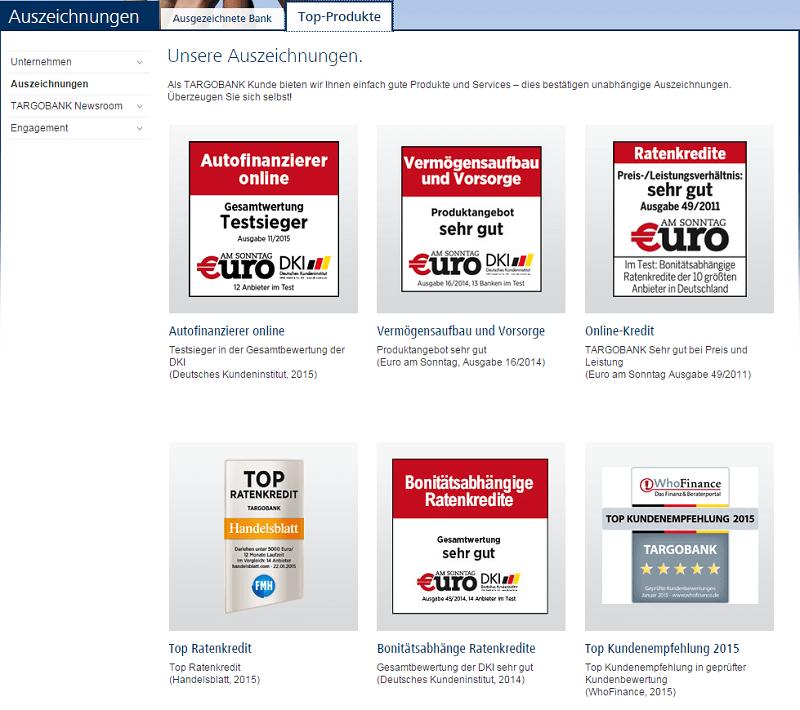 Targobank Online Kredit Bewertungen - zu sehen sind Qualitätssiegel, die der Targobank durch €uro, Handelsblatt und weitere in den letzten Jahren verliehen worden sind. Die Bank schneidet regelmäßig mit Top Bewertungen ab.