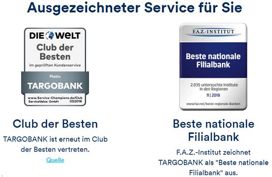 Targobank Online Kredit Bewertungen - Die Targobank erhielt in den vergangenen Jahren zahlreiche Auszeichnungen. In 2018 wurde die Targobank, z.B. von der ServiceValue GmbH und den Kooperationspartnern DIE WELT und Goethe-Universität Frankfurt am Main, in den Club der Besten bei der Kundezufriedenheit gewählt.