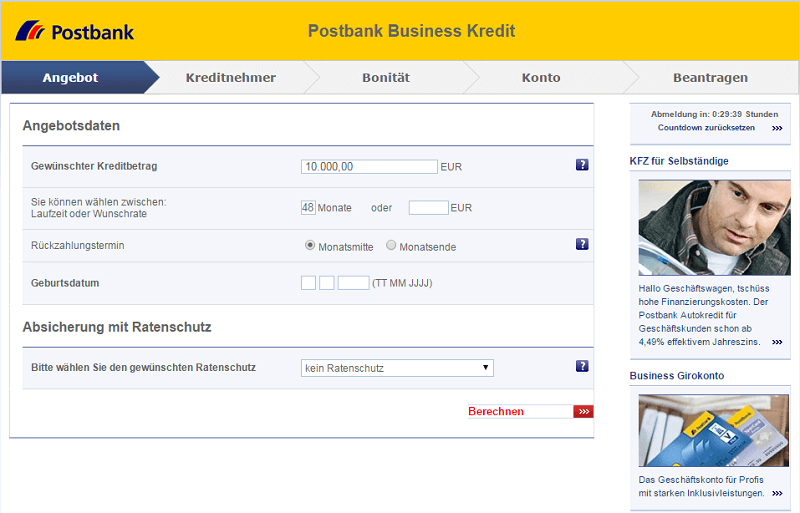 postbank business kredit zinsen konditionen. Black Bedroom Furniture Sets. Home Design Ideas