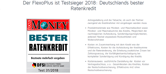 Beurteilungen – ABK FlexoPlus – Der FlexoPlus Kredit der ABK wurde im Test 31/2018 von Focus Money und dem Deutschen Kunden-Service Institut, erneut zum Testsieger in der Kategorie der Ratenkredite gewählt.