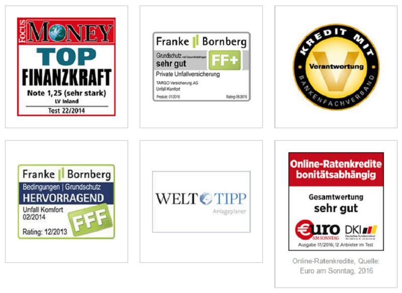 Bewertungen und Auszeichnungen für die Targobank - Die Targobank kann anhand zahlreicher Testsiege, Auszeichnungen und Bestnoten überzeugen. Dies betrifft sowohl die Produkte der Targobank, als auch das Unternehmen an sich.